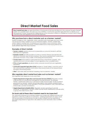 Direct Market Food Sales