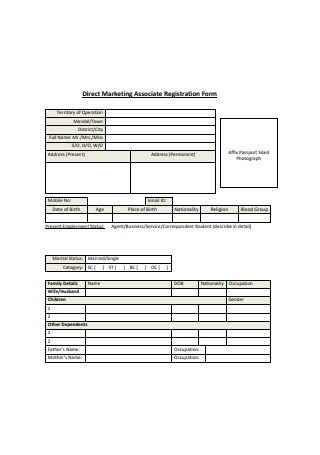 Direct Marketing Associate Registration Form
