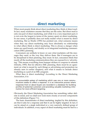 Direct Marketing Example