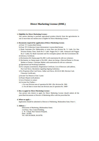 Direct Marketing License