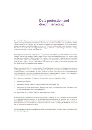 Direct Protection and Direct Marketing