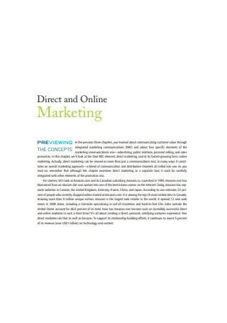 Direct and Online Marketing Sample