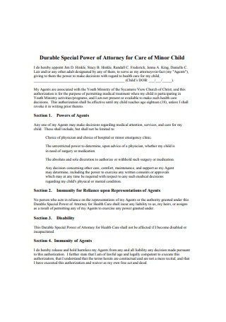 Durable Special Power of Attorney for Care of Minor Child