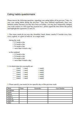 Eating Habits Questionnaire Format