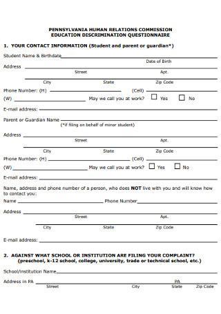 Education Discrimination Questionnaire