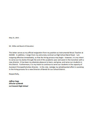 Education Resignation Letter