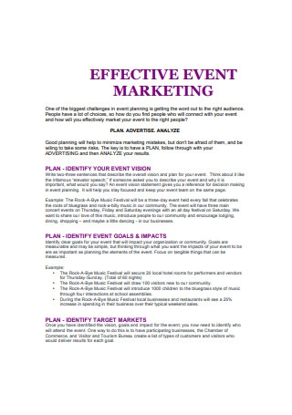 Effective Event Marketing Plan