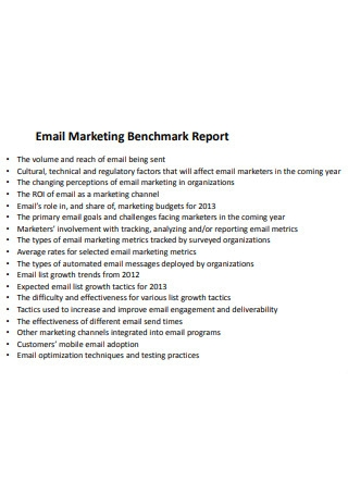 Email Marketing Benchmark Report