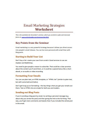 Email Marketing Strategies Worksheet