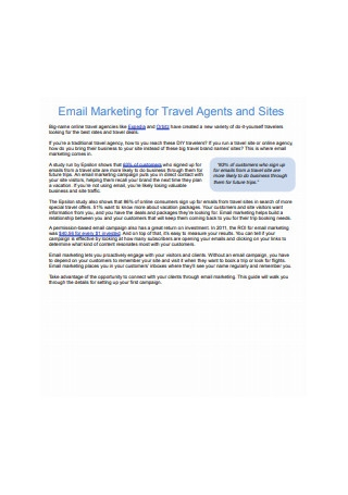 Email Marketing for Travel Agents and Sites