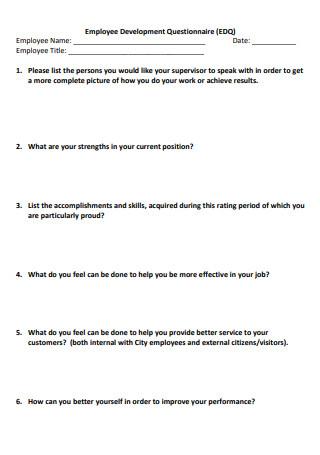 Employee Development Questionnaire