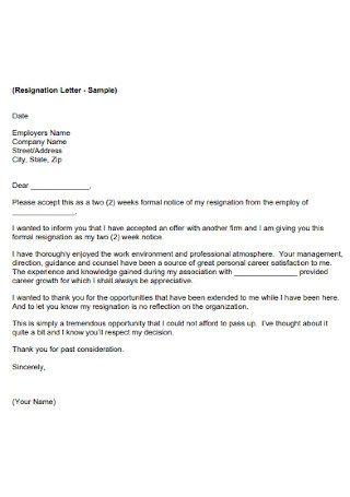 Employee Letter of Resignation