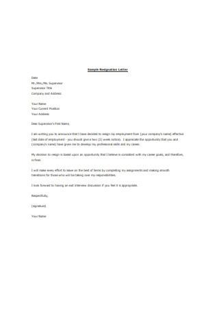 Employee Resignation Letter Sample