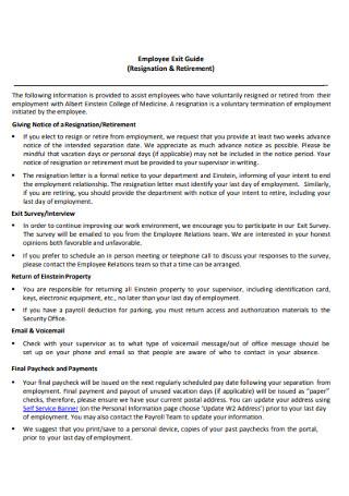 Employee Retirement Resignation Letter