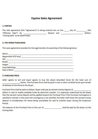 Equine Sales Agreement