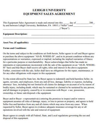 Equipment Sale Agreement