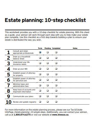 Estate Planning 10 Step Checklist
