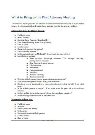 Estate Planning Attorney Checklist