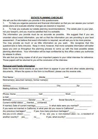 Estate Planning Checklist Format