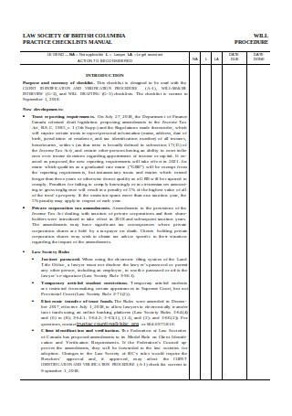 Estate Planning Checklist Manual