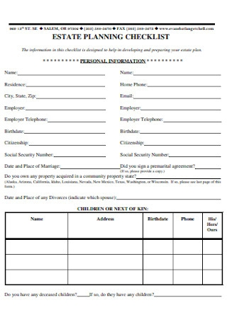 Estate Planning Checklist Outline
