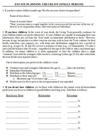 Estate Planning Checklist Single Person