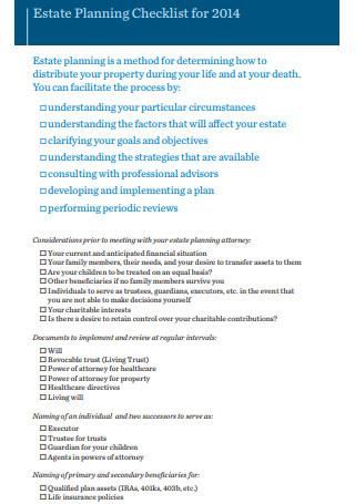 Estate Planning Checklist for 2014