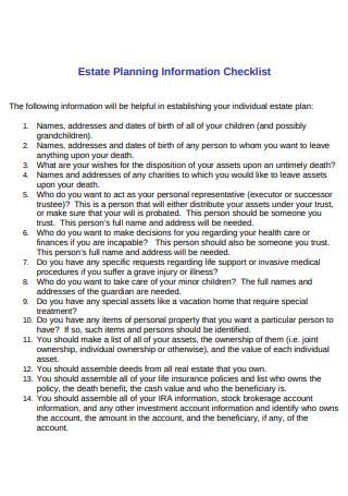 Estate Planning Information Checklist