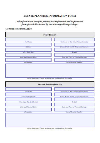 Estate Planning Information Form