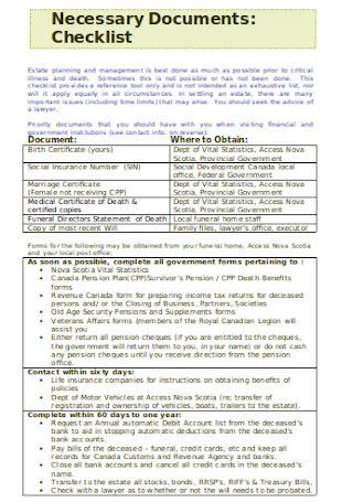Estate Planning and Management Checklist