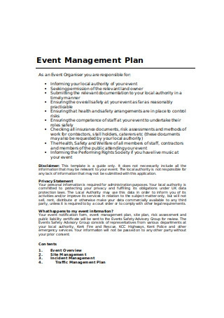 Event Management Plan