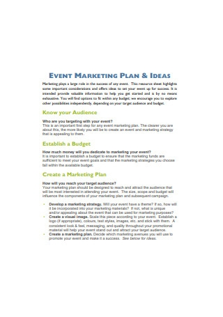 Event Marketing Plan and Ideas