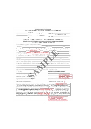 Eviction Complaint Form