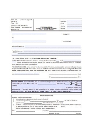 Eviction Notice Form Example