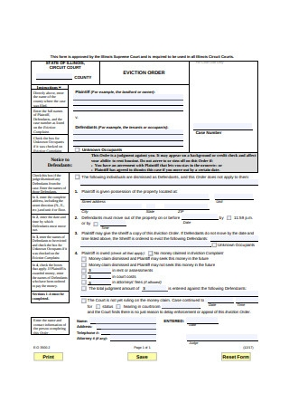 Eviction Order Form