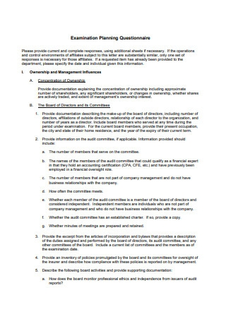Examination Planning Questionnaire