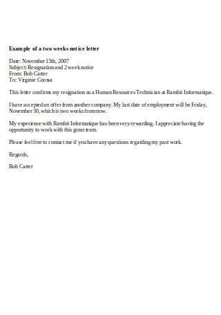 Example of Two Weeks Notice Letter