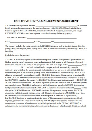 Exclusive Rental Management Agreement