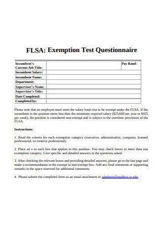 Exemption Test Questionnaire