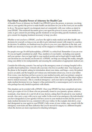 Fact Sheet Durable Power of Attorney for Health Care
