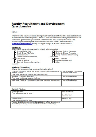Faculty Recruitment and Development Questionnaire