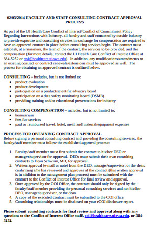Faculty and Staff Consulting Contract
