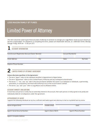 Family Funds Limited Power of Attorney
