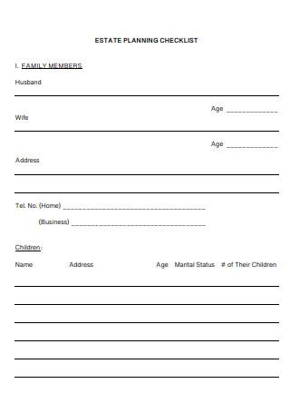 Family Member Estate Planning Checklist