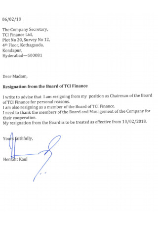 Finance Board Registration letter