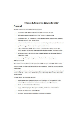Finance and Corporate Service Counter Proposal
