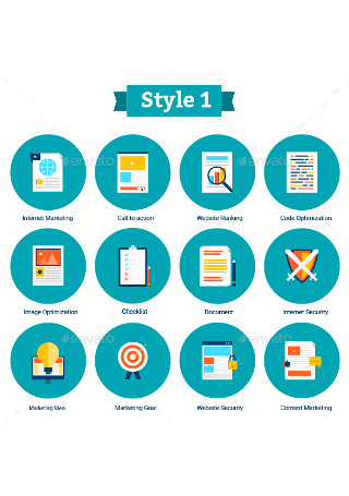 Flat Digital Marketing Icons