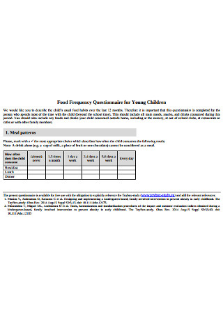 Food Frequency Questionnaire for Young Children