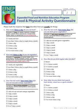 Food Physical Activity Questionnaire