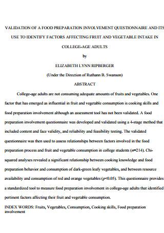 Food Preparation Involvement Questionnaire